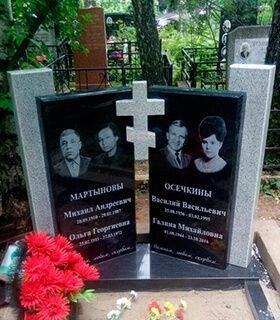 Мемориальный одиночный комплекс из двух видов гранитов Саларьево Мемориальный комплекс с крестом Карачев